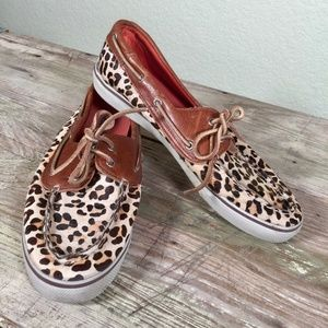 Sperry topsiders boat shoe pony hair animal print